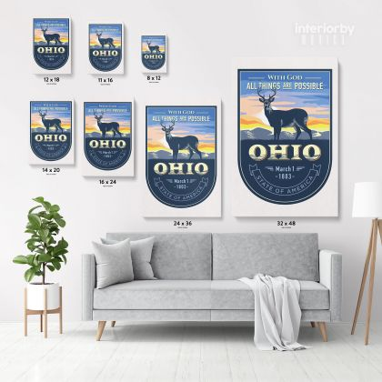 OHIO With God State of America Emblem Canvas Wall Artwork For Mural Wall Hanging