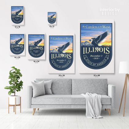 ILLINOIS The Garden of the West State of America Emblem Canvas Wall Artwork For Mural Hanging