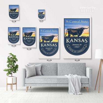 Kansas The Central State of America Emblem Canvas Wall Artwork For Mural Hanging