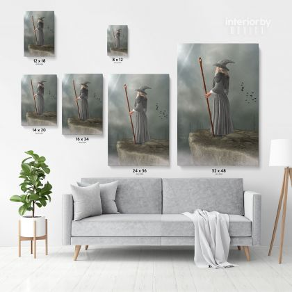 Fantasy Fairytale City Fairytale in Edge of Mountain Framed Canvas Fantasy Wall Art Picture Poster Print Home Decoration Living Dining Room