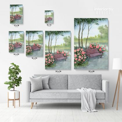 Watercolor Painting Canvas with Frame Tree Flowers Print on Canvas Wall Hangings Modern Art Picture Print Home Decoration Living Dining Room