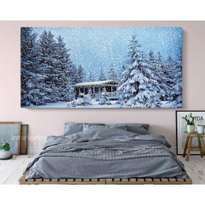 Panoramic Winter Vintage Christmas Village Snow Scene