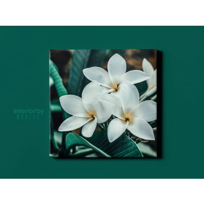 Portrait Tropical Flowers Leaves Canvas for Living Room Wall Hanging Green Leaves Canvas with Frame For