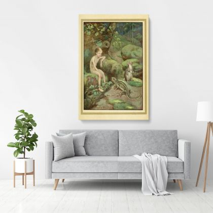 Boy Painting Photo Poster Print in Canvas with Frame Original Wall Artwork for Painting in Canvas