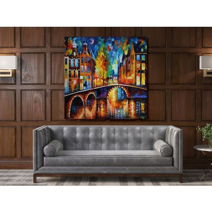 Bridges Of Amsterdam Palette Knife Oil Painting by Leonid Afremov Photo Print on Canvas Wall Mural Home Decor Gift