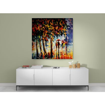 Rainy Stroll Palette Knife Oil Painting by Leonid Afremov Canvas Photo Print Home Decor Wall Mural Hanging Gift