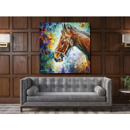 Famous Horse Palette Knife Oil Painting by Leonid Afremov Photo Print on Canvas Home Decor Wall Mural