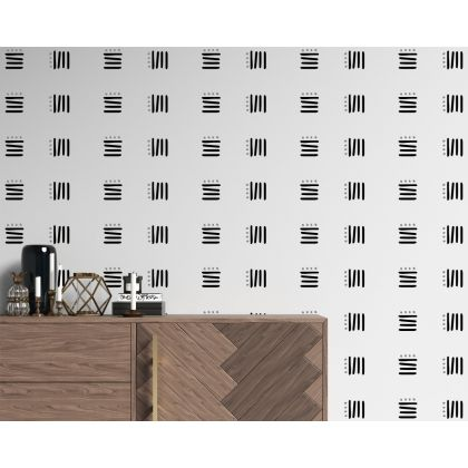 Set of 50 Lines with Polka Dots Abstract Boho wall Decal