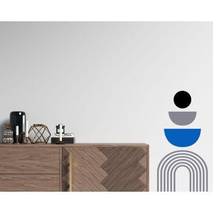 3 Colour Half Circle & Polka Dot Abstract Boho Wall Stickers