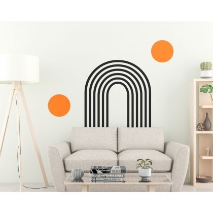 2 Colour Circle & Boho Arch wall Decal Abstract Wall Stickers