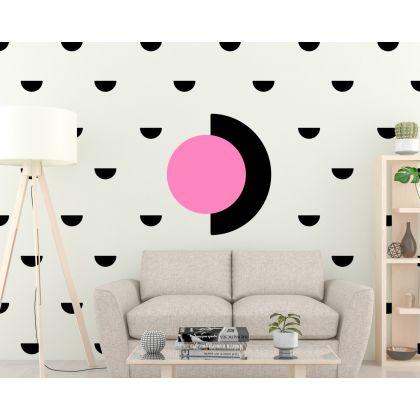 Set of 35 small Half Circle with Big Half Circle Pattern Wall Decals