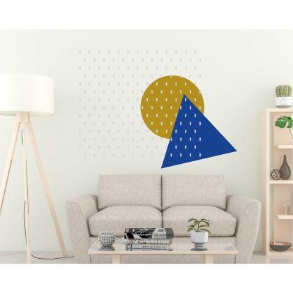 Long Polka Dots Pattern Wall Decals Triangle & Circle Wall Art