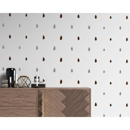 2 Colour Hand Drawn Polka Dots Geometric Pattern Wall Decals