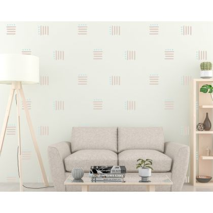 Set of 50 Lines with Polka Dots wall Decal Abstract Boho Wall Stickers