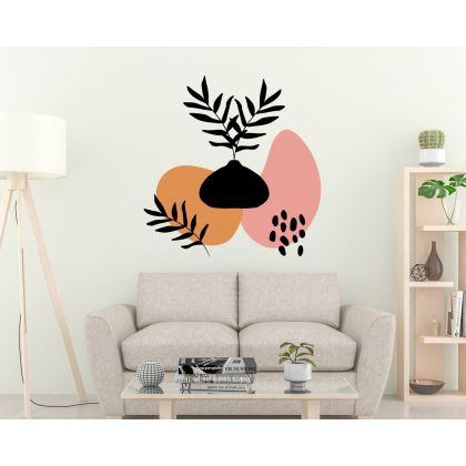 Abstract Boho Leaves Wall Decal Shapes Wall Sticker Scandinavian Decor