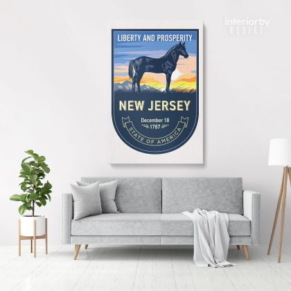 New Jersey State of America Emblem Canvas Wall Artwork Mural Print