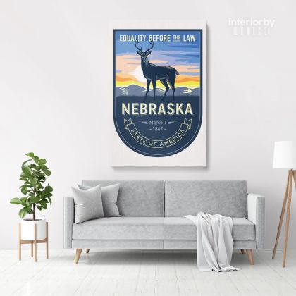 Nebraska Equality Before The Law State of America Emblem Canvas Wall Artwork Mural Print