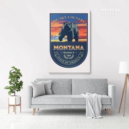 Montana Big Sky Country State of America Emblem Canvas Wall Artwork Mural Print