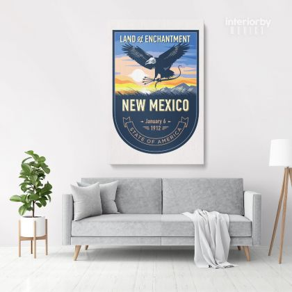 New Mexico State of America Emblem Canvas Wall Artwork For Mural Canvas Wall Hanging