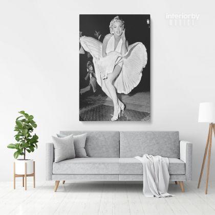 Marilyn Monroe American Model White Dress Wall Artwork Hanging Canvas