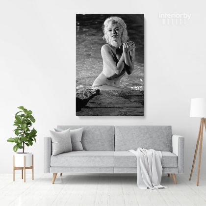 Marilyn Monroe Naked Canvas American Model Actress Pop Sexy in Water Falls Full Body Canvas