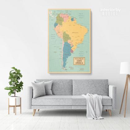 Retro Political Map Of South America with Different sizes Romania Map Canvas Print Artwork For Canvas Wall Hangings