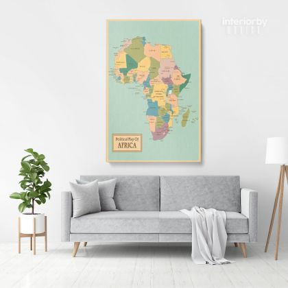 Retro Political Map Of Africa with Different sizes Romania Map Canvas Print Artwork For Canvas Wall Hangings