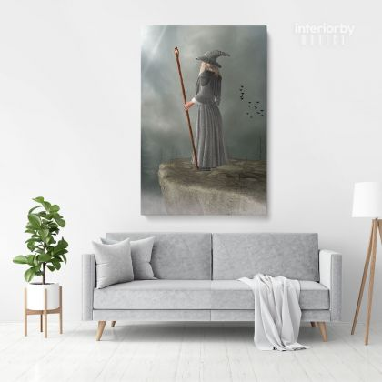 Fantasy Fairytale City Fairytale in Edge of Mountain Framed Canvas Fantasy Wall Art Picture Poster Print ation Living Dining Room
