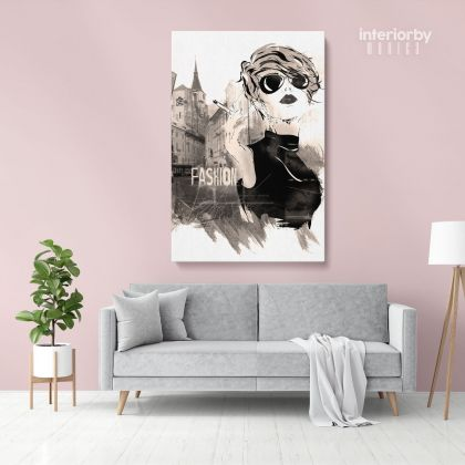 Black and White Modern Women with Smoke Watercolor Painting Posters Print Canvas