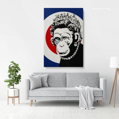 Banksy Style Monkey Queen Print Painting Framed Canvas / Rolled