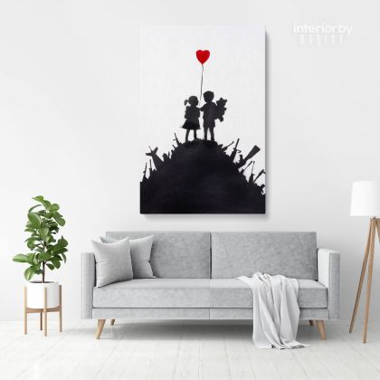 Banksy Style Kids on Gun Print Painting Framed Canvas