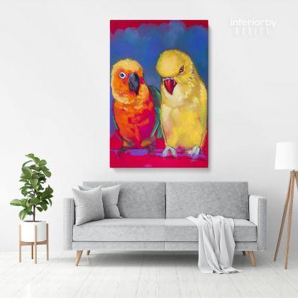 Aratinga Parrot Bird Psittacidae Original Pastel Painting Posters Print Canvas with Frame