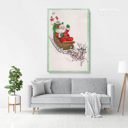 Merry Christmas Santa Claus's Reindeer Print Painting Framed Canvas