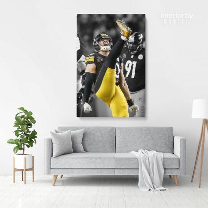 TJ Watt Celebration Steelers Print Poster Canvas Banner Football Fan Kids Wall Decor
