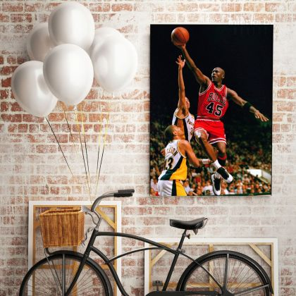 Michael Jordan Basketball Canvas with Frame or Rolled Canvas Kids for Gaming Zone