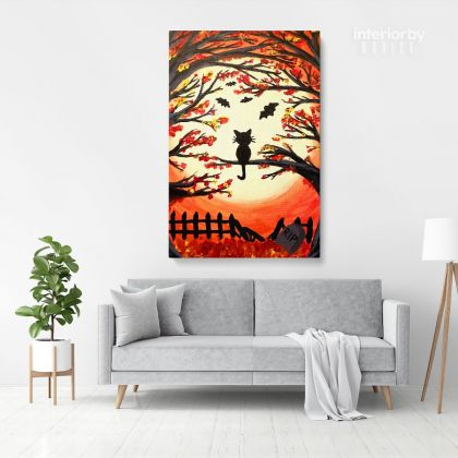 Halloween Paint and Sip NYC Painting Print Poster Canvas with Frame or Rolled Canvas