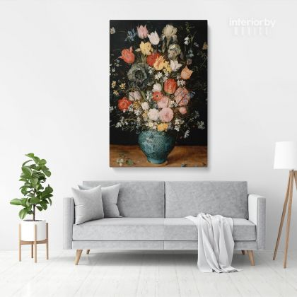 Bouquet Flowers in Blue Vase Painting Print Poster Canvas with Frame or Rolled Canvas