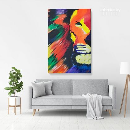 Lion Modern Art Painting Print Poster Canvas with Frame / Rolled Canvas Sip and Paint Photo Wall Artwork