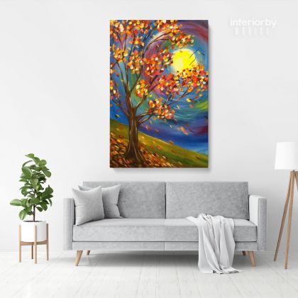 Fall Tree Art Painting Print Poster Canvas with Frame or Rolled Canvas Sip and Paint Photo Wall Artwork