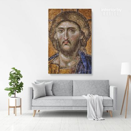 Mosaic of Christ Print Poster Canvas or Rolled Canvas, Mosaic 9th Century Christ Photo Print Modern Wall Art