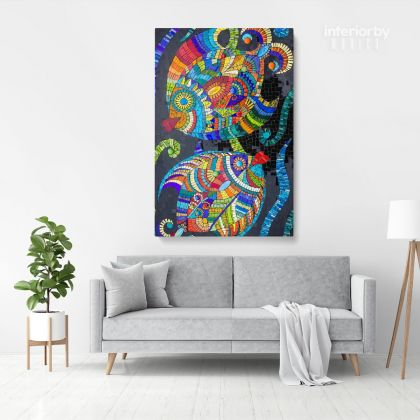 Mosaic Artwork Print Poster on Canvas or Rolled Canvas Photo Print Modern Wall Art