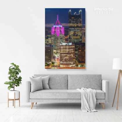 Pittsburgh Skyline Highmark City Building Canvas with Frame or Rolled Canvas, Home Decoration Living Room Bedroom Wall Artwork Hangings Gift