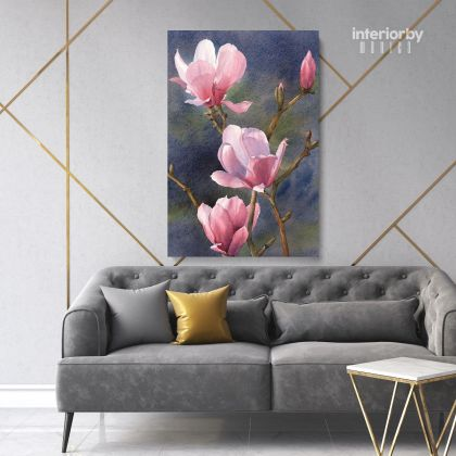Pink Magnolia Flower Canvas Print Poster Floral Wall Art Wall Hangings Floral Home Decoration Living Room Wife Gifts Magnolia Flower Photo