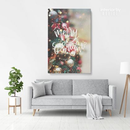 Merry Christmas Quote Print Painting Framed Canvas