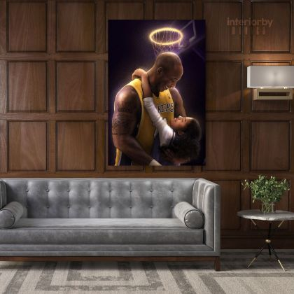 Gianna and Kobe Bryant Photo Print Canvas Basketball Player Last Game Mamba Mentality Home Decor
