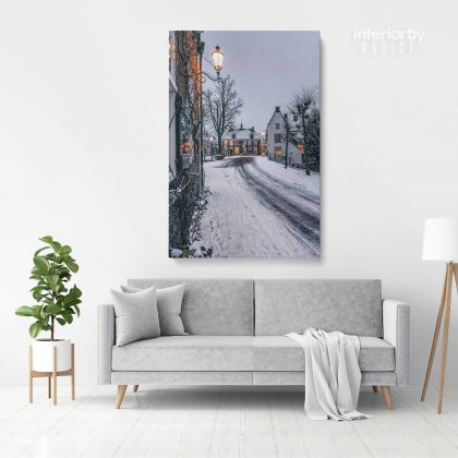 Merry Christmas Winter Snow Print Painting Framed Canvas