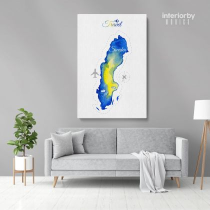 Sweden Water Color Wall Map with Different sizes Sweden Map Canvas Print Artwork For Canvas Wall Hangings