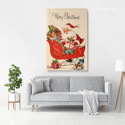 Merry Christmas Greeting Gift Print Painting Framed Canvas
