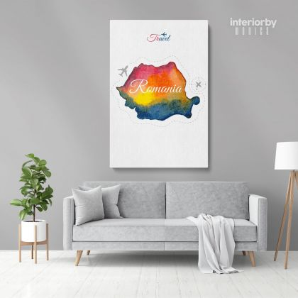 Romania Water Color Wall Map with Different sizes Romania Map Canvas Print Artwork For Canvas Wall Hangings