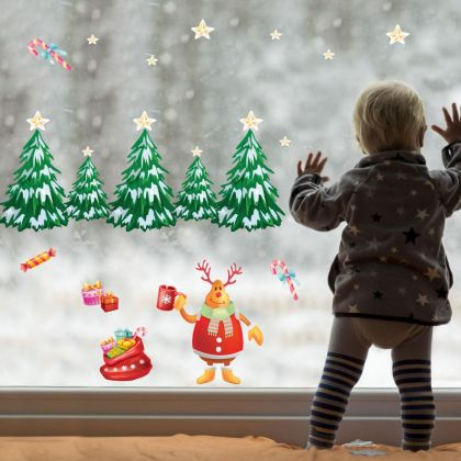 Christmas Decor Window Stickers, Christmas Tree Decor Window Decal for Christmas windows decor